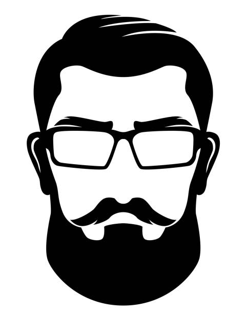 Hipster Silhouette Profile Man Clip Art Vector illustration of a Hipster Silhouette Black and white Profile Man Clip Art suave stock illustrations