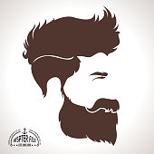 Vector Illustration of a Bearded Men face Hipster Style Silhouette Profile. Lateral view. Elegant Avatar Design.