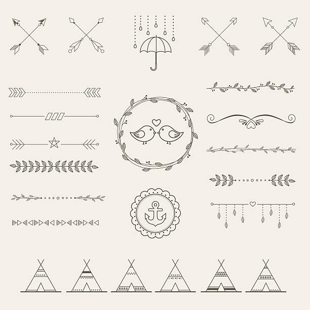 ilustrações, clipart, desenhos animados e ícones de esboço de elementos de infográficos no estilo hipster conjunto de design retrô. - bordas florais