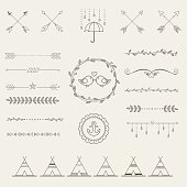 Hipster sketch style infographics elements set for retro design.