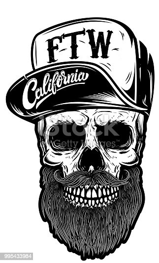 Hipster skull in baseball cap with lettering california, forever two wheels. Design element for logo, label, emblem, sign. Vector image