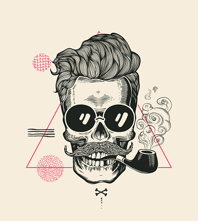 Hipster Skull Smoke Pipe Vector Illustration Print. Cool Mustache Skeleton Face in Sunglasses. Urban Modern Hair T-Shirt Print Monochrome Sailor Head Black Death Silhouette