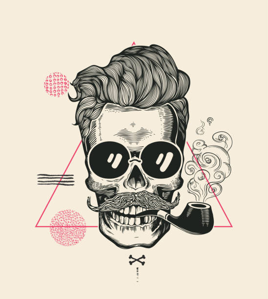 hipster skull smoke pipe vector illustration print. cool mustache skeleton face in sunglasses. urban modern hair t-shirt print monochrome sailor head black death silhouette - old man smoking pipe drawing stock illustrations, clip art, cartoons, & icons