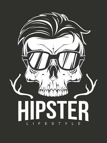 Hipster skull with glasses and fashion hair. Illustration for t-shirt print. Vector fashion illustration