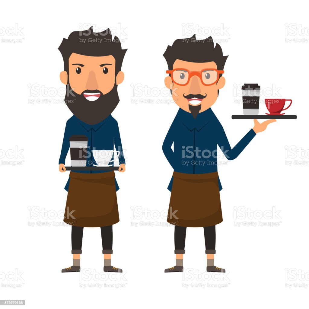 Hipster style. Barista holding a coffee on a tray in cafe shop. Cartoon character vector illustration. vector art illustration