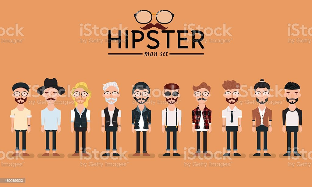 Hipster style bearded man, character set collection-vector illustration vector art illustration