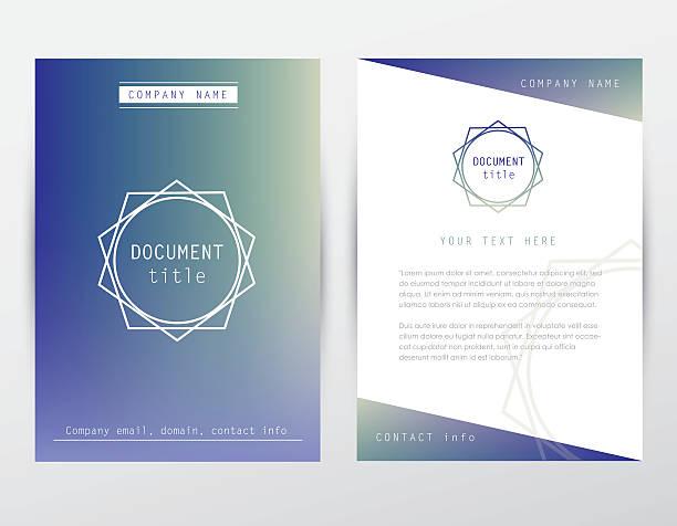 ilustrações, clipart, desenhos animados e ícones de hipster estilo identidade corporativa capa do folheto e papel timbrado modelo de documento - molduras de certificados e premiações