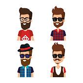 hipster style group of avatars vector illustration design