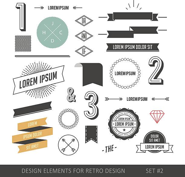 hipster style infographics elements set for retro design - design element stock illustrations