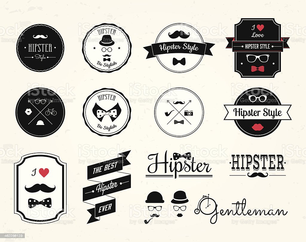 14 hipster style labels, icons, logo in red, white and black vector art illustration
