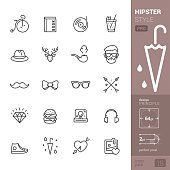 20 Hipster Style related stroke icons pack.