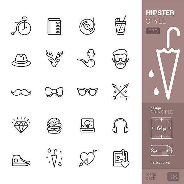 stockillustraties, clipart, cartoons en iconen met hipster style related vector icons - pro pack - street style