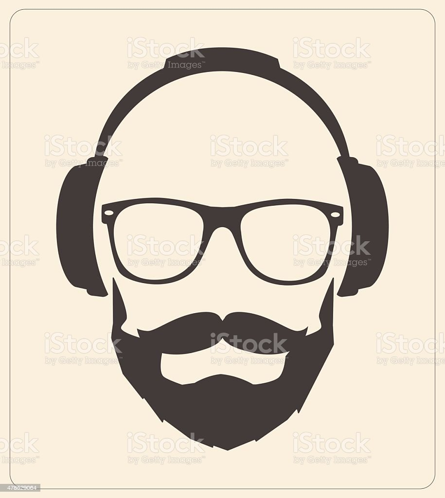 Hipster style set glasses mustaches headphones illustration vector vector art illustration