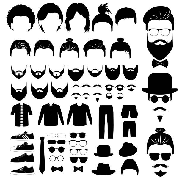 stockillustraties, clipart, cartoons en iconen met hipster stijl instellen met haar, baarden, bril, kleding, hoed, geïsoleerd op witte achtergrond - baard