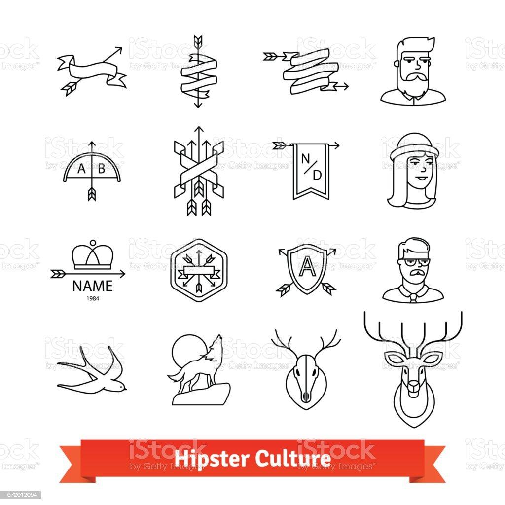 Subcultura hippie. Conjunto de ícones de arte fina linha - ilustração de arte em vetor