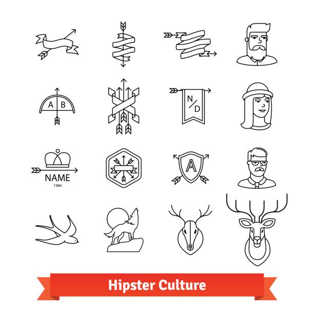 Hipster subculture. Thin line art icons set vector art illustration