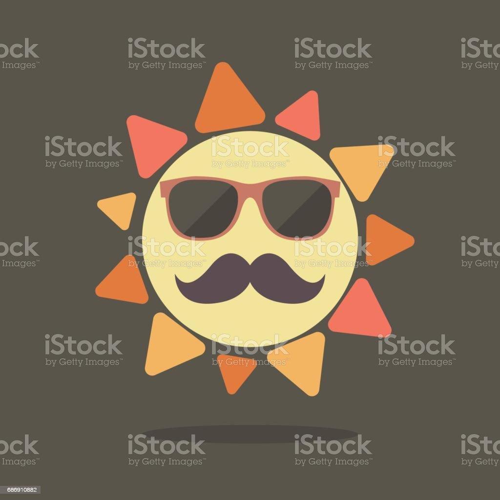 Hipster summer sun vector art illustration