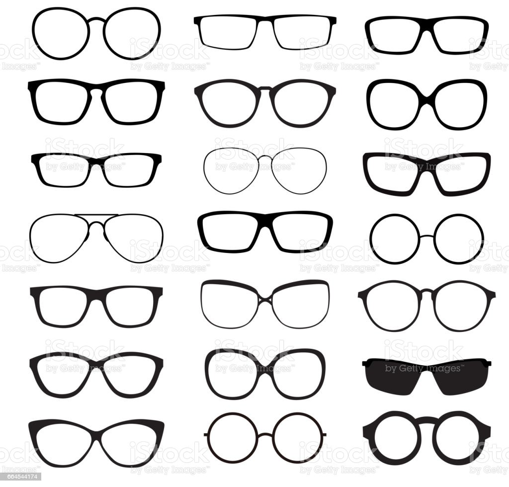 Hipster Summer Sunglasses Fashion Glasses Collection Isolated on vector art illustration