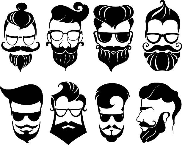 Hipster symbols collection Hipster hair and beards, fashion vector illustration set. suave stock illustrations
