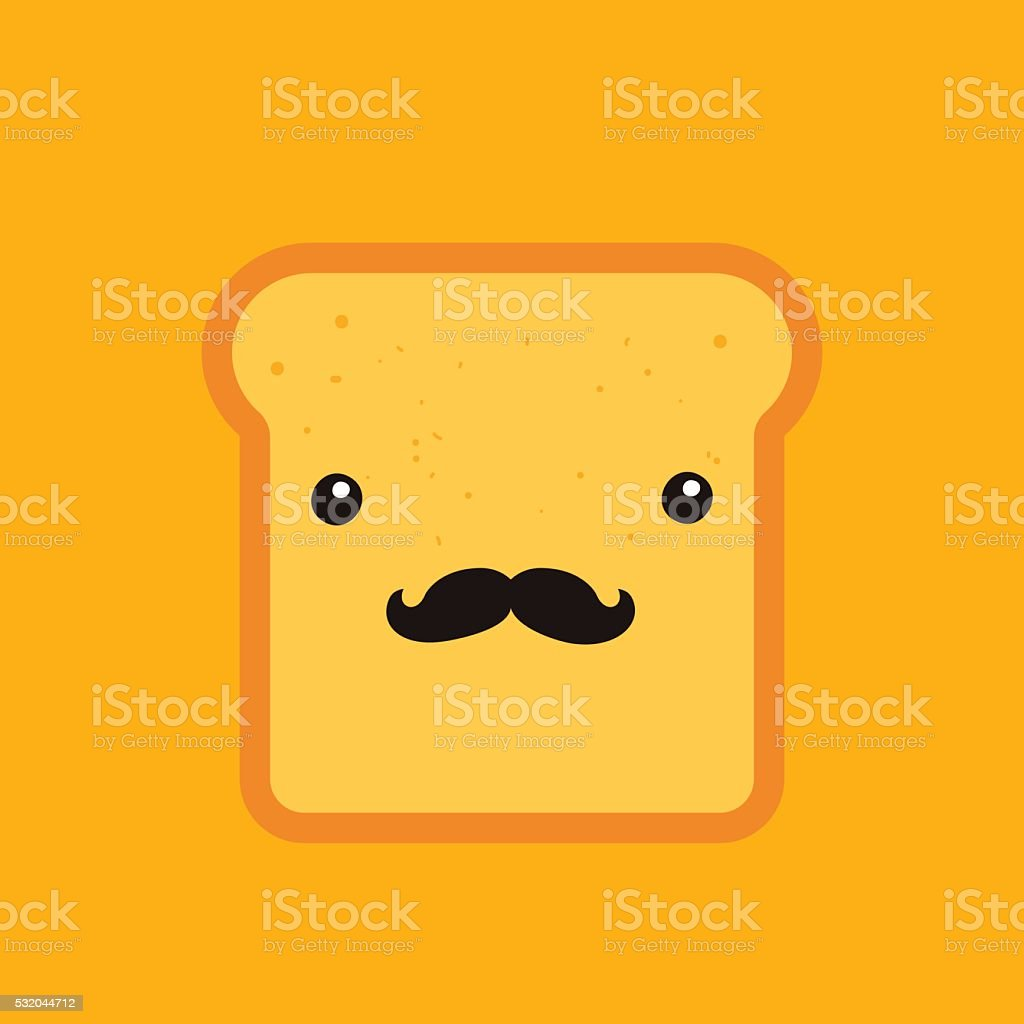 Hipster toast bread Funny Cartoon character with mustache background template vector art illustration