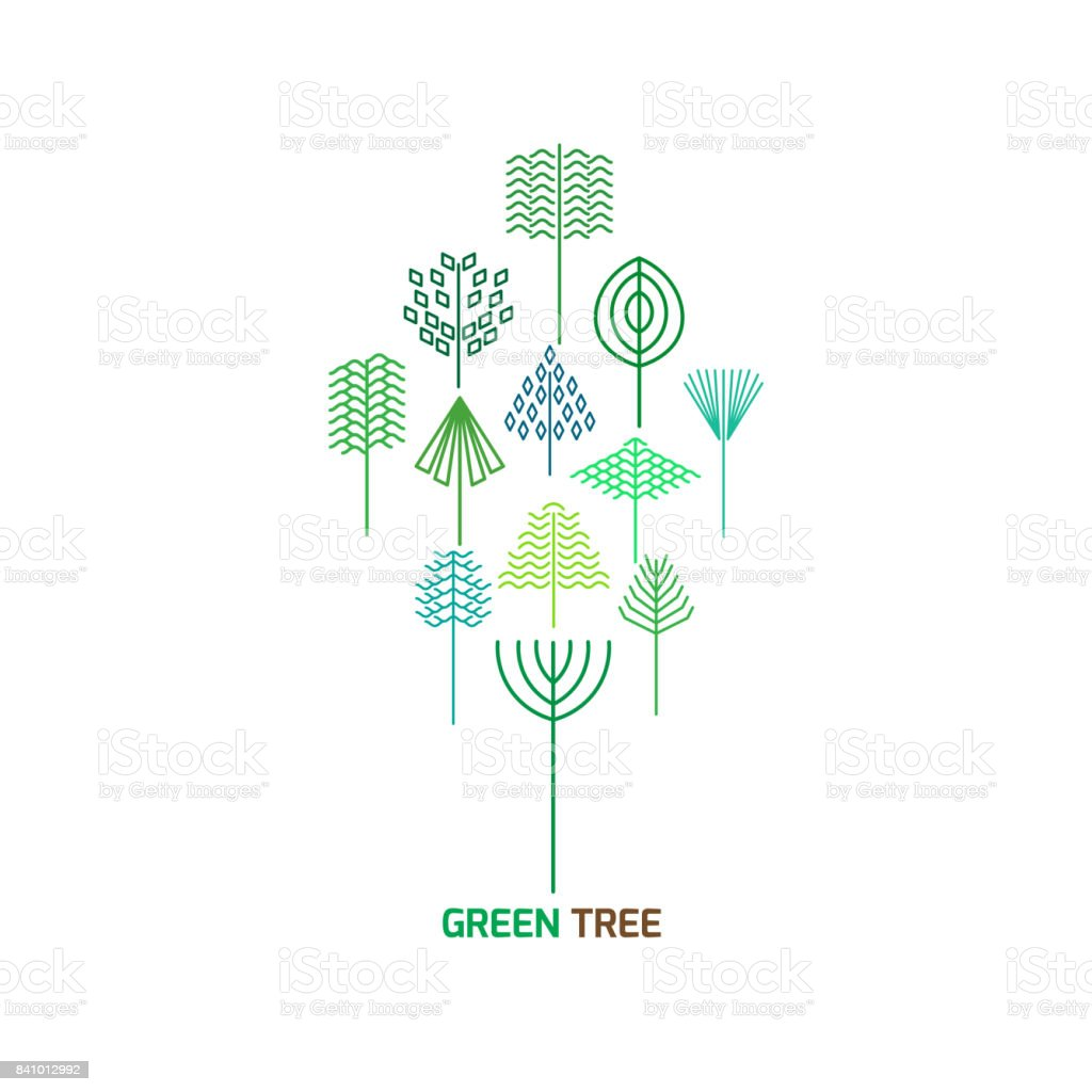 Hipster tree in a minimalist style