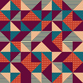 Geometric triangle abstract with colorful vintage retro geometric style background.