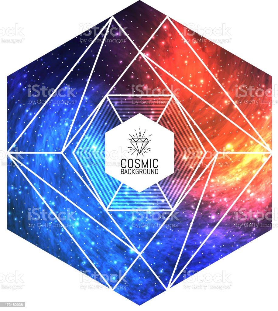 Hipster mit dreieckigen bunte cosmic Hintergrund.  Vektor-Illustration für Design, party – Vektorgrafik
