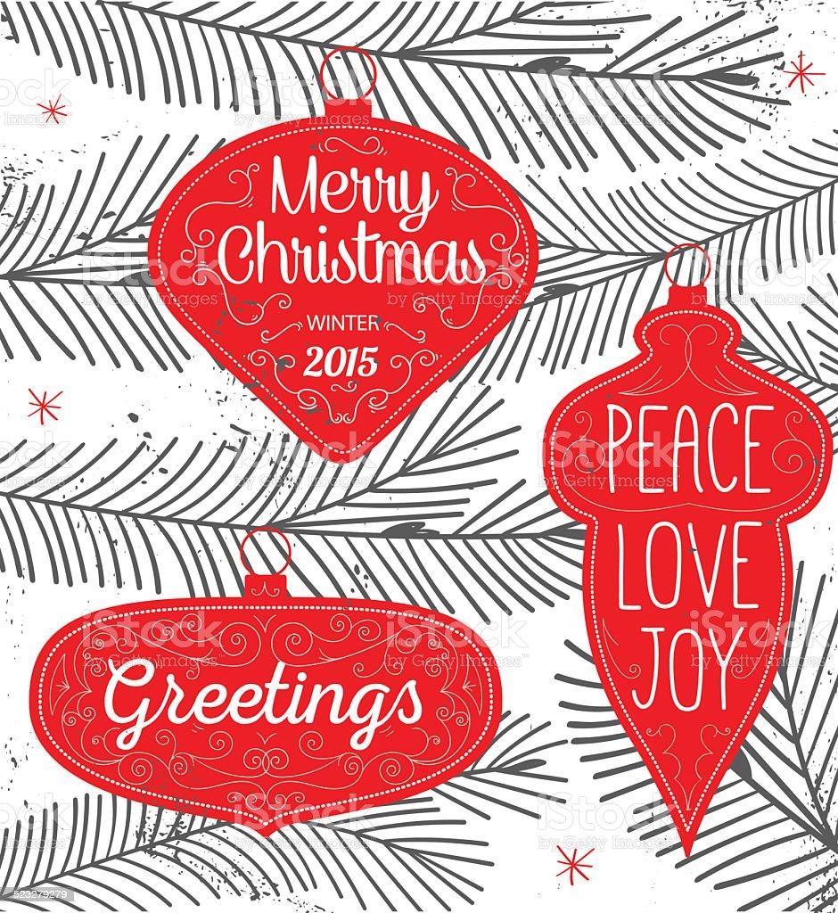 Hipster Typography Christmas background - labels, emblems and de vector art illustration