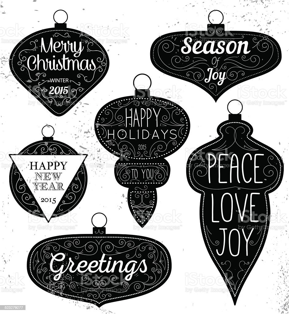 Hipster Typography Christmas design elements vector art illustration