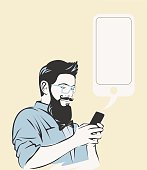 Hipster using a phone.