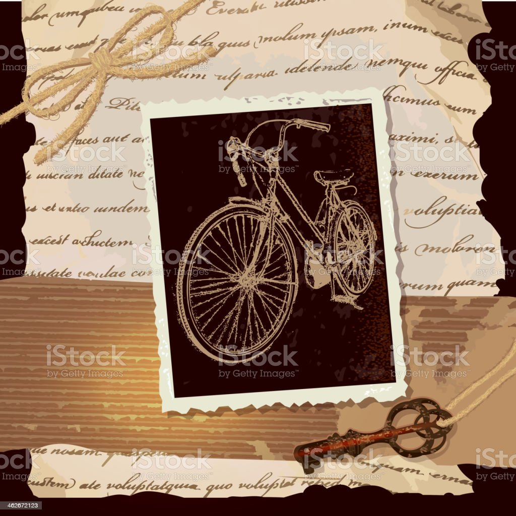 Hipster Vintage Bicycle And Old Fashioned Key Scrapbook Page