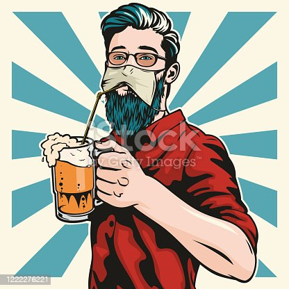 istock Hipster Wearing Protective Face Mask Drinks Beer 1222276221