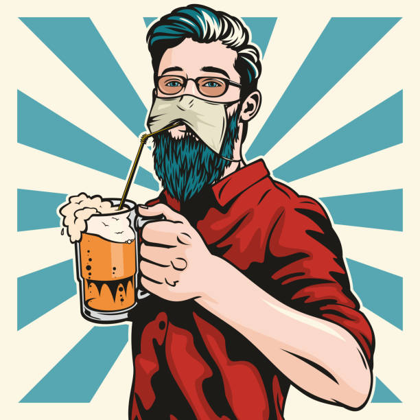Hipster Wearing Protective Face Mask Drinks Beer vector art illustration