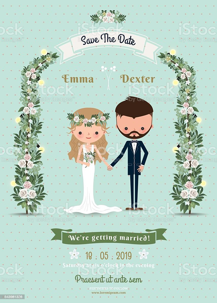 Hipster wedding invitation card bride & groom cartoon beach them vector art illustration