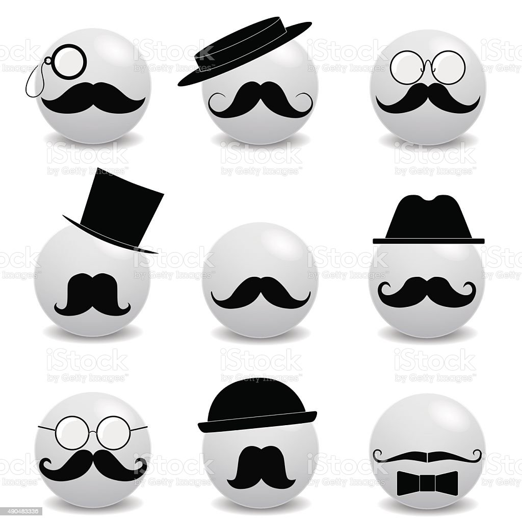 Hipster white smilies with mustache vector art illustration
