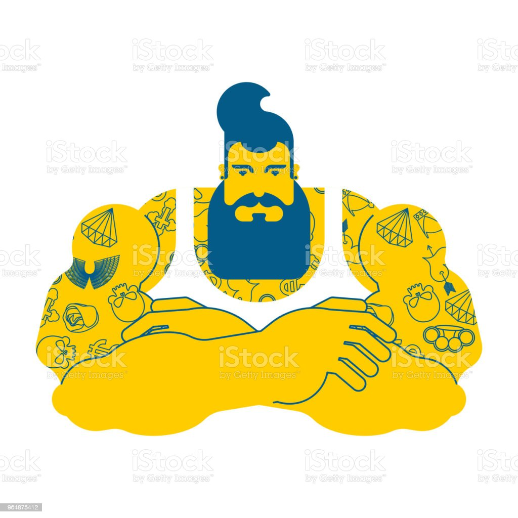 Hipster with beard and tattoo. Fashionable Stylish strong guy. Brutal man. Vector illustration royalty-free hipster with beard and tattoo fashionable stylish strong guy brutal man vector illustration stock vector art & more images of adult