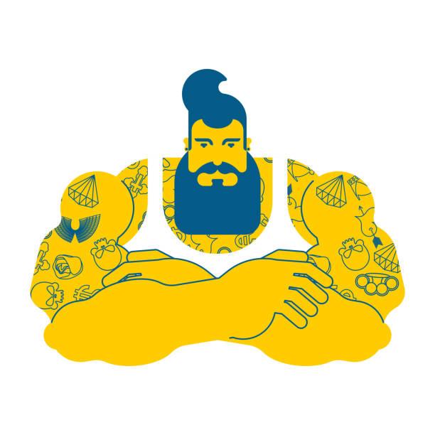 ひげとタトゥーで流行に敏感。おしゃれなスタイリッシュな強い男。残忍な男。ベクトル図 ベクターアートイラスト