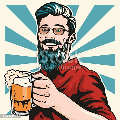 Retro style pop art illustration of a handsome young hipster man standing with a big glass of lovely beer in his hand. Cheers!