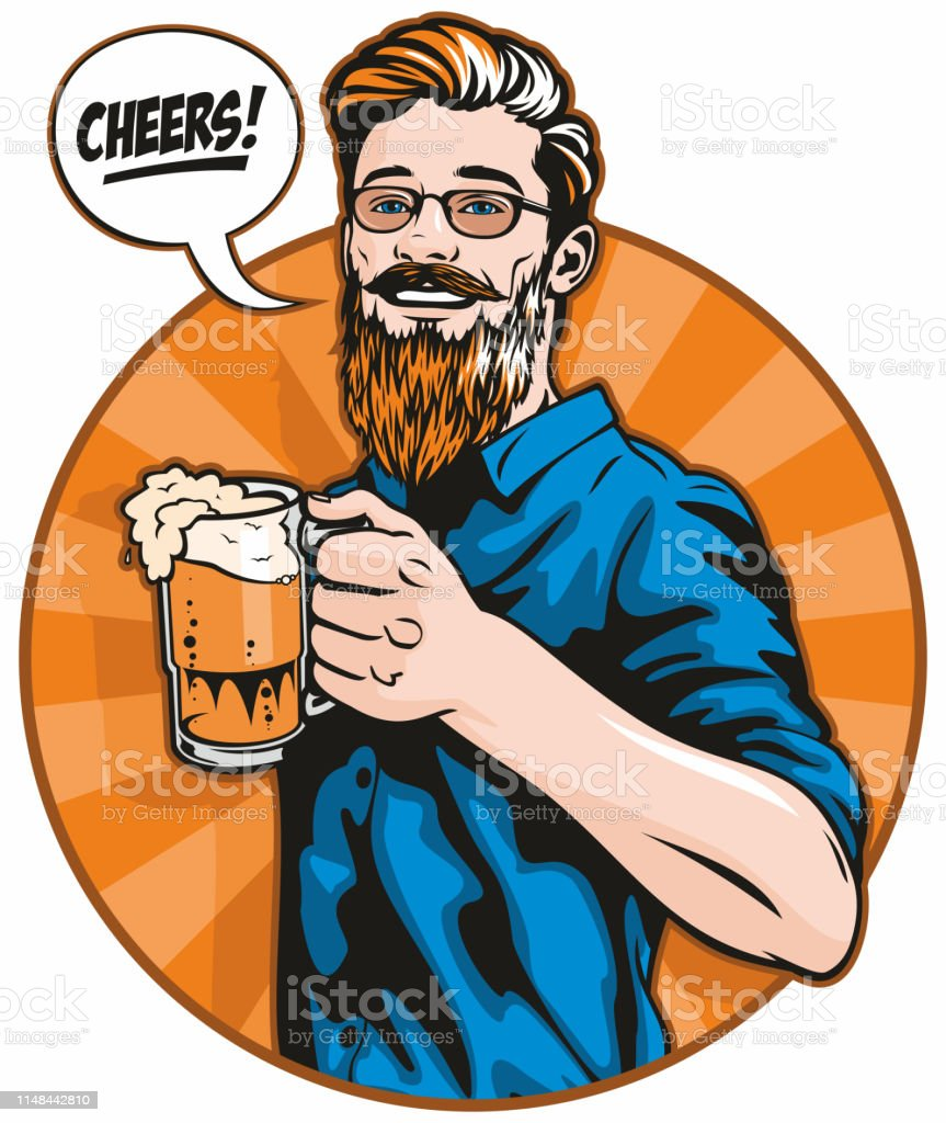 Hipster With Beer vector art illustration