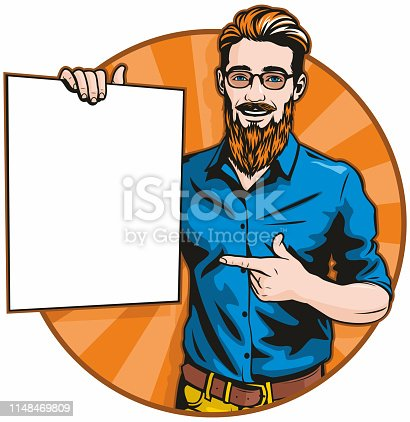 Retro style pop art illustration of a handsome young hipster man holding a blank sign.