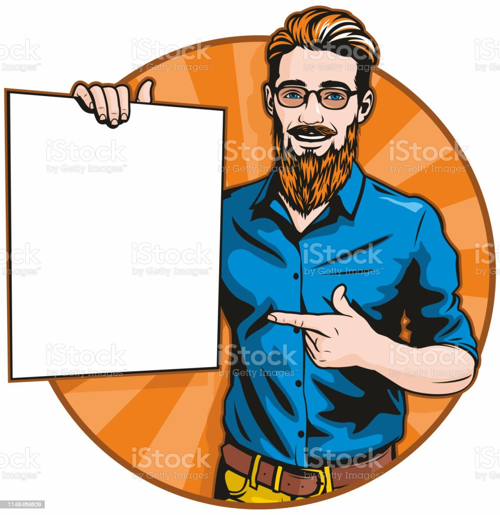 Hipster With Blank Sign vector art illustration