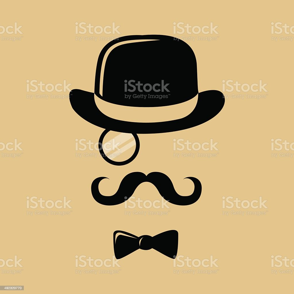 Hipster With Mustache Top Hat and Bow Tie Silhouette vector art illustration