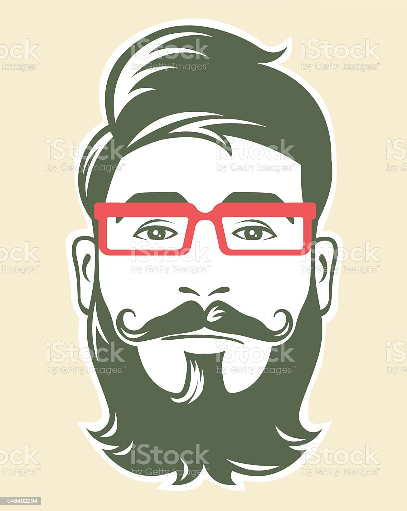 Hipster with red glasses vector art illustration