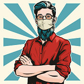 istock Hipster With Surgical Mask and Arms Folded 1211212064