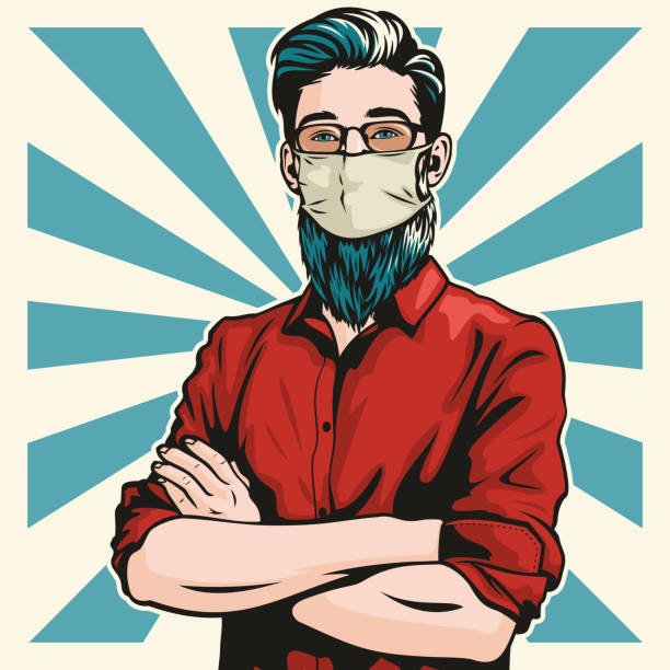 Hipster With Surgical Mask and Arms Folded vector art illustration