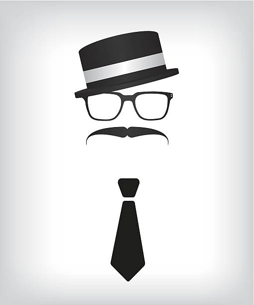hipster with tie and glasses - old man mask stock illustrations, clip art, cartoons, & icons