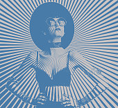 Hipster woman with sunbeam halftone pattern