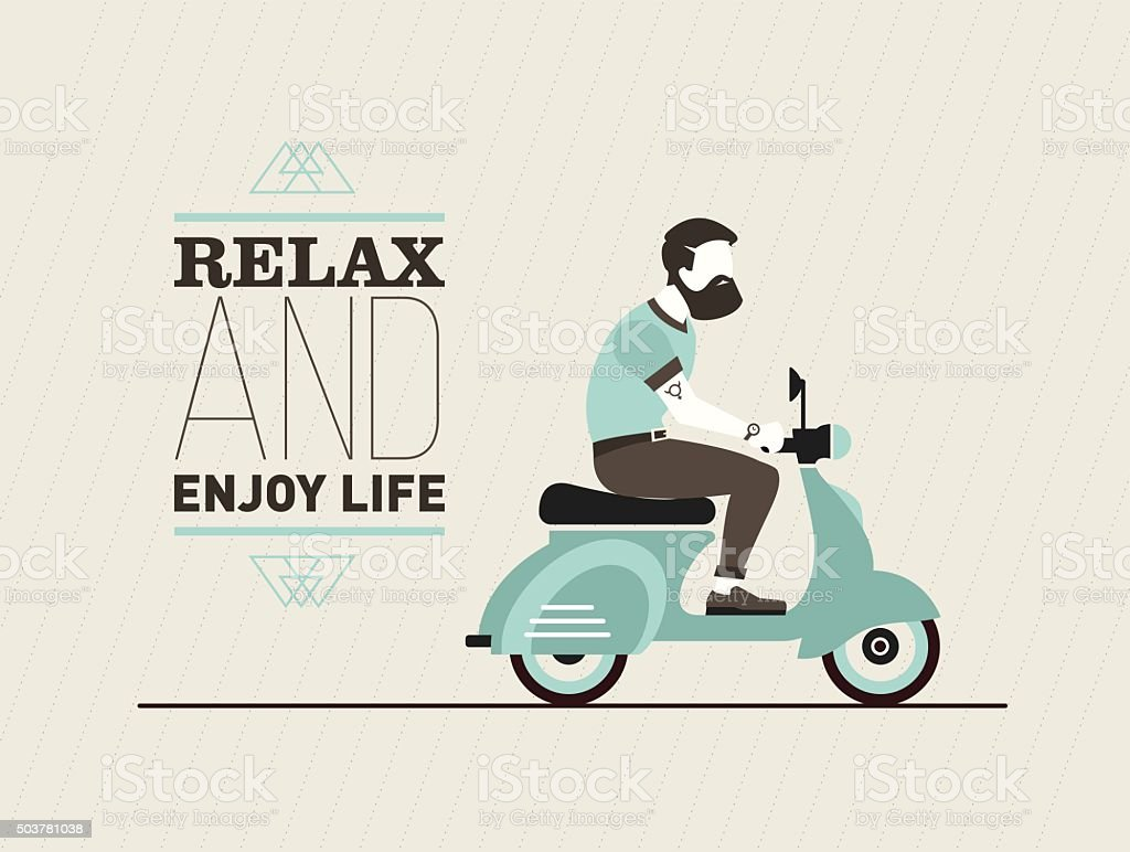 hipster young bearded man character with retro blue scooter vector art illustration
