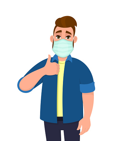 Hipster young man covering face with medical mask and showing thumbs up symbol. Person wearing hygienic facial protection and gesturing success sign. Male character cartoon illustration in vector.