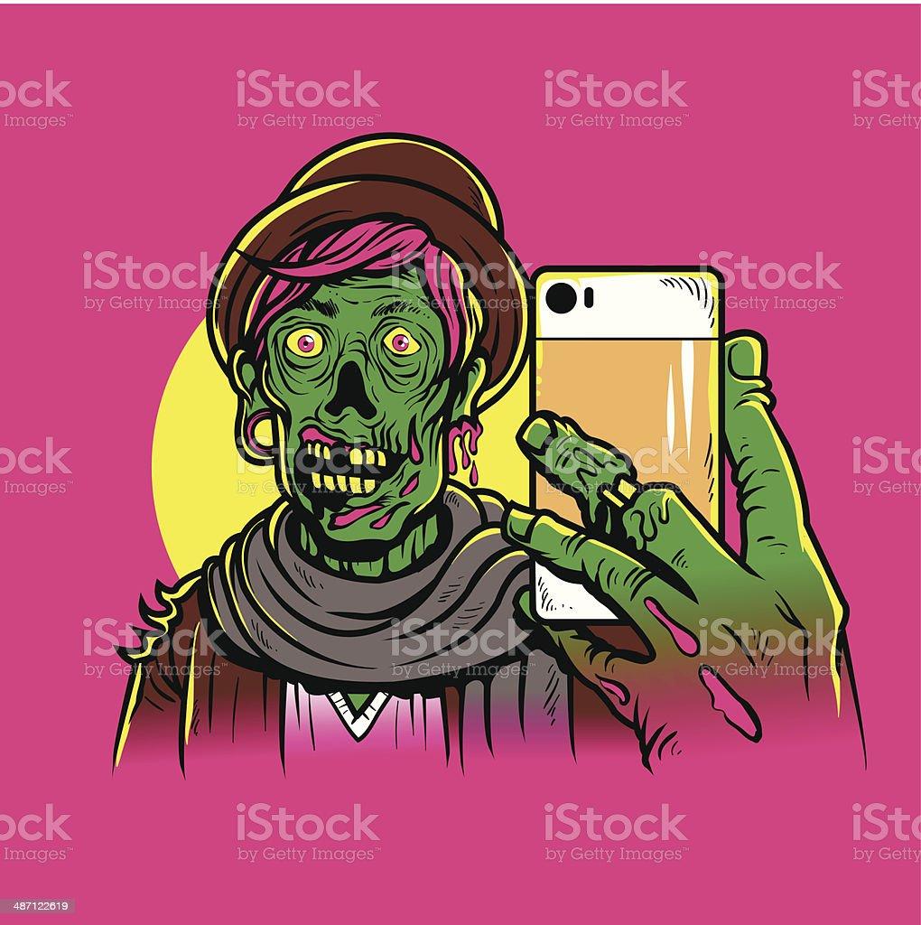 Hipster Zombie vector art illustration